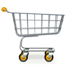 Empty supermarket trolley with yellow wheels vector