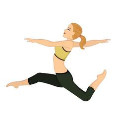 Exercising woman doing dance jumps vector