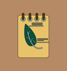 flat icon design collection notebook and leaf vector image