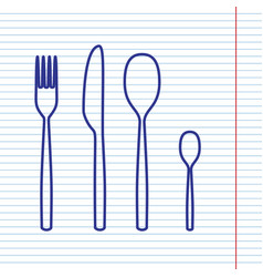 Fork spoon and knife sign navy line icon vector