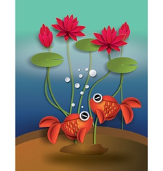 Goldfish with lotus vector