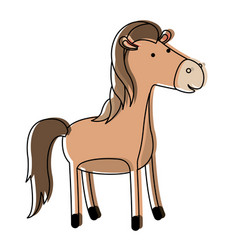 Horse cartoon in watercolor silhouette with thin vector
