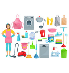 houshold woman washing cleaning icons vector image vector image