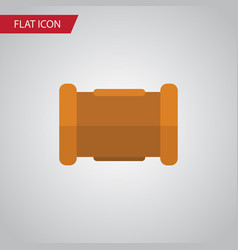Isolated cast iron flat icon pipe element vector