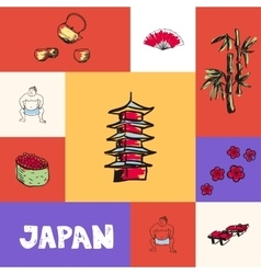 Japan squared concept with doodles vector