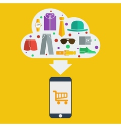 mobile shopping man vector image