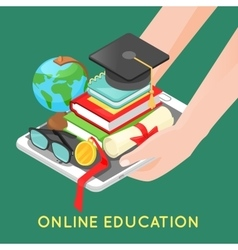 Online Education Concept with Digital Tablet vector image vector image