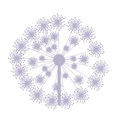 Pastel purple silhouette dandelion with pistils vector
