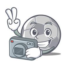 photographer football character cartoon style vector image