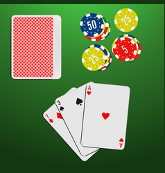 playing cards and casino chips on a green vector image