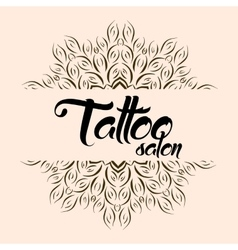 Tattoo salon emblem logo with mandala vector
