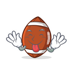 tongue out american football character cartoon vector image