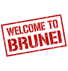 Welcome to brunei stamp vector