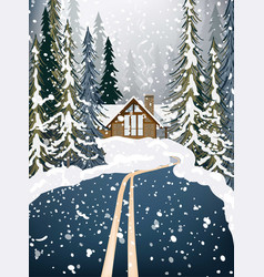 Wood house winter snowy background fir trees road vector