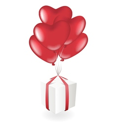 Gift box with heart balloons vector