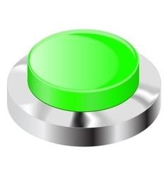 Green push button with chrome frame vector