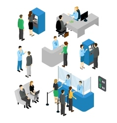 People In Bank Isometric Set vector image