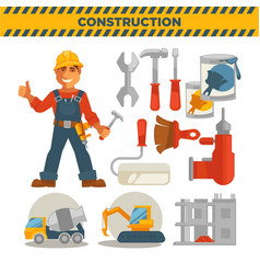 Male builder and set of special tools on white vector