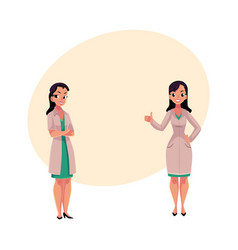 Two woman doctors in medical coats standng vector