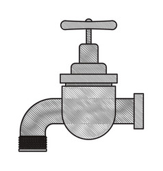 Colored crayon silhouette of faucet icon vector