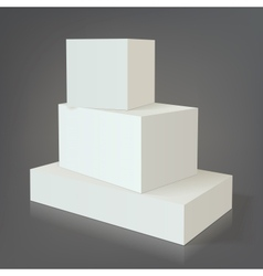 Three white empty box template without texture on vector image