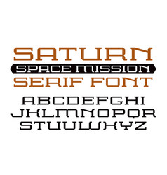 Square serif font in computer style vector