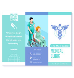 Trifold brochure medical clinic blue basic vector