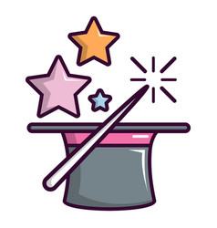 magic hat with magic wand icon cartoon style vector image