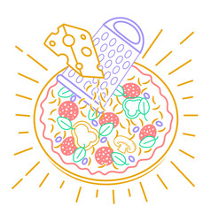 pizza icon with cheese vector image