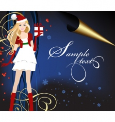 Santa dressed girl with present vector