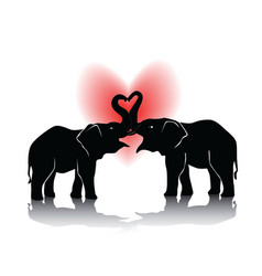 Black silhouette of kissing elephants vector