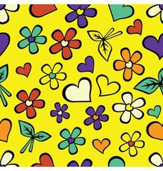 Cartoon seamless texture with hearts vector image