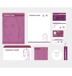 Corporate identity in purple color with patterns vector