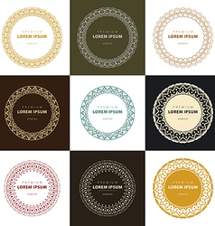 Set abstract frames logo templates line style vector