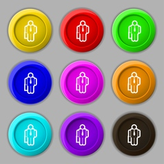 Businessman icon sign symbol on nine round vector