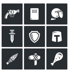 The evolution of weapons icons set vector