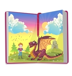Book about cartoon prince with cute dragon vector
