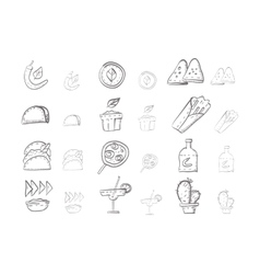 Sketch icons collection for mexican food vector
