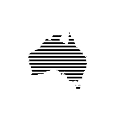 Black linear symbol of australia map on white vector