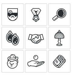 Set of pawnshop icons appraiser jewel vector