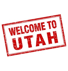 Utah red square grunge welcome isolated stamp vector