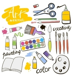 Doodle colored art materials collection vector