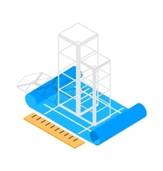 Building construction plan icon isometric 3d style vector