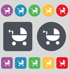 Baby stroller icon sign a set of 12 colored vector