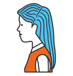 beautiful woman profile avatar character vector image