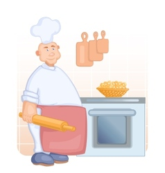Big cook with rolling pin vector