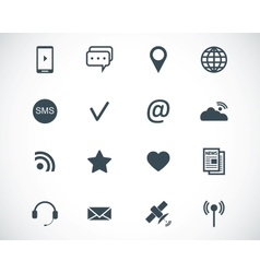 black communication icons set vector image