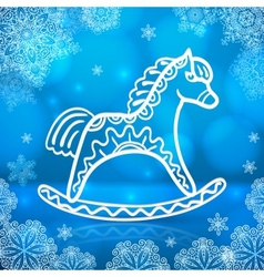 Blue new year card with white paper horse vector image