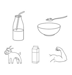 Bowl of cottage cheese yogurt milk package goat vector