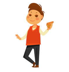 Boy eating school lunch sandwich flat vector